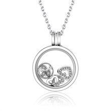 2017 100% de Plata de ley 925 Mini DIY Encantos Locket Flotante Collar de Cristal Colgante de Collar De Cuentas Fit Pandora Original Berloque