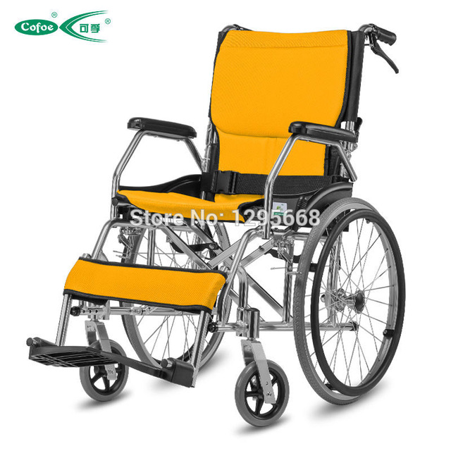 Yellow Wheelchair Armless Leather Chair Folding Back Portable Aluminum Alloy Lightweight Blue Red Manual