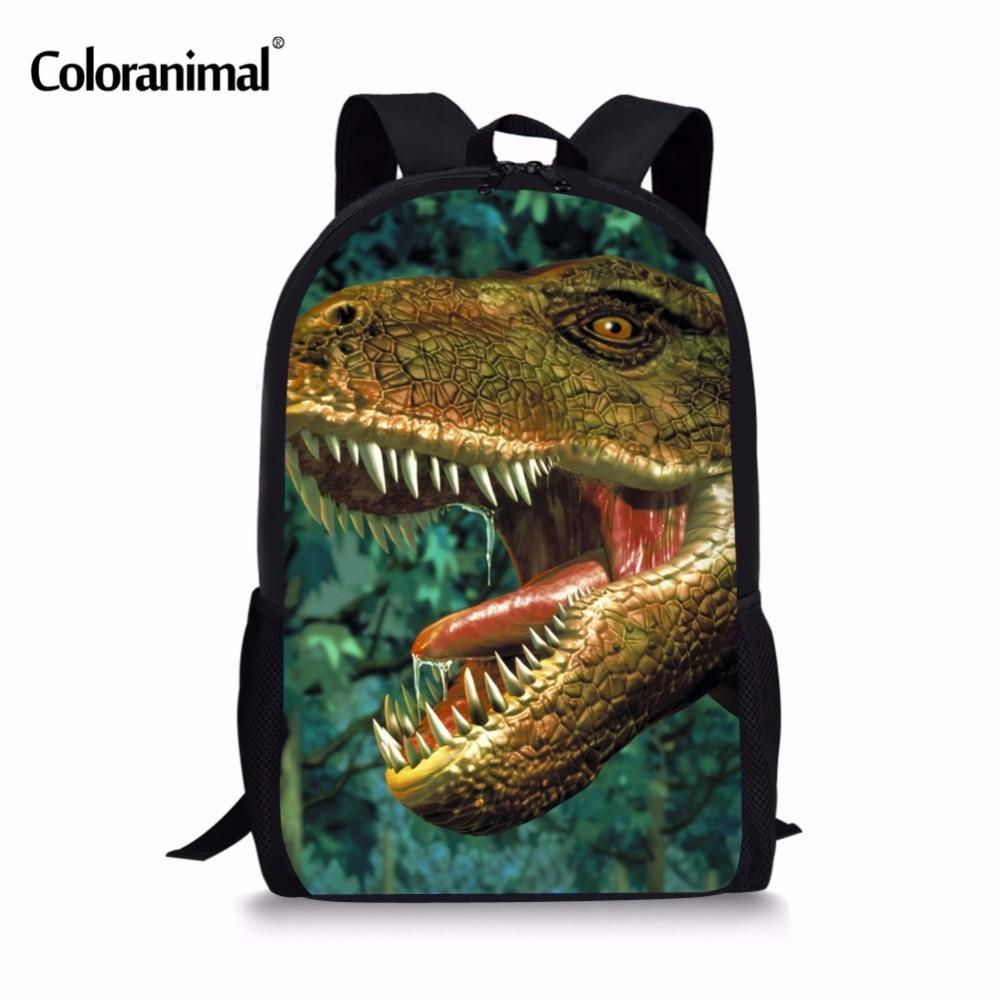 Coloranimal Cool Dinosaur Backpack Children 3D Animal Printing School Bags for Teenagers Boys Students Back Pack Kids Schoolbag