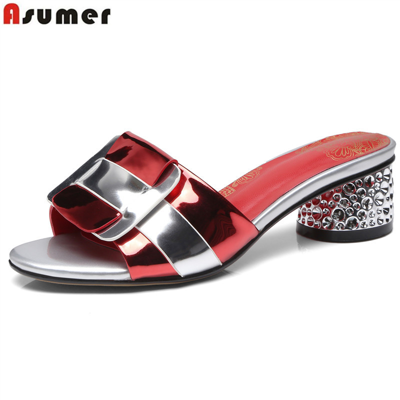 ASUMER big size 34 41 fashion summer new shoes woman square heel sandals women mixed colors
