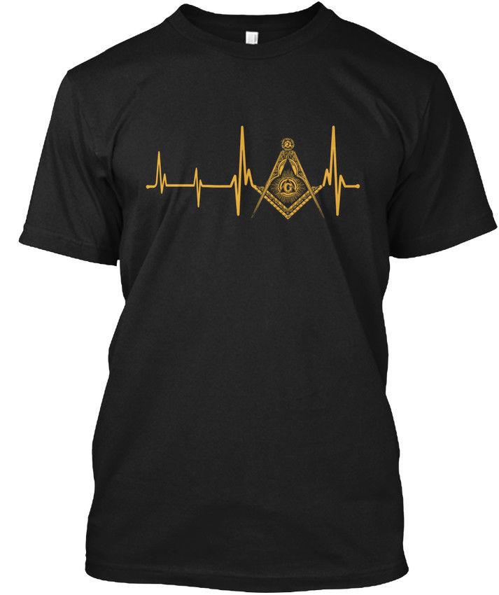 New Top Quality Top O-Neck Short-Sleeve Freemason Heartbeat Masonic   T     Shirt   For Men