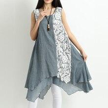 Das Mulheres do vintage Vestido Sem Mangas Fêmea Laço Patchwork Longo Top Senhora Casual Plus Size Sarafans Vestidos Robe Femme Elegante Blusa