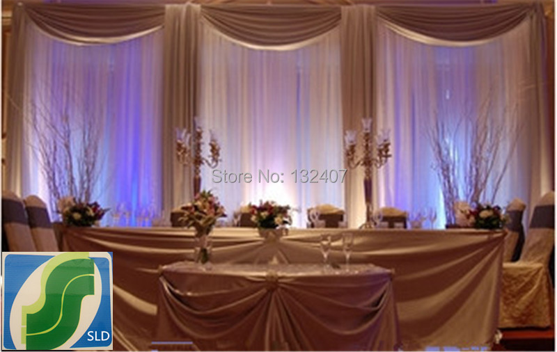 3m 6m White Wedding Backdrop Curtains Lake Blue Swag With