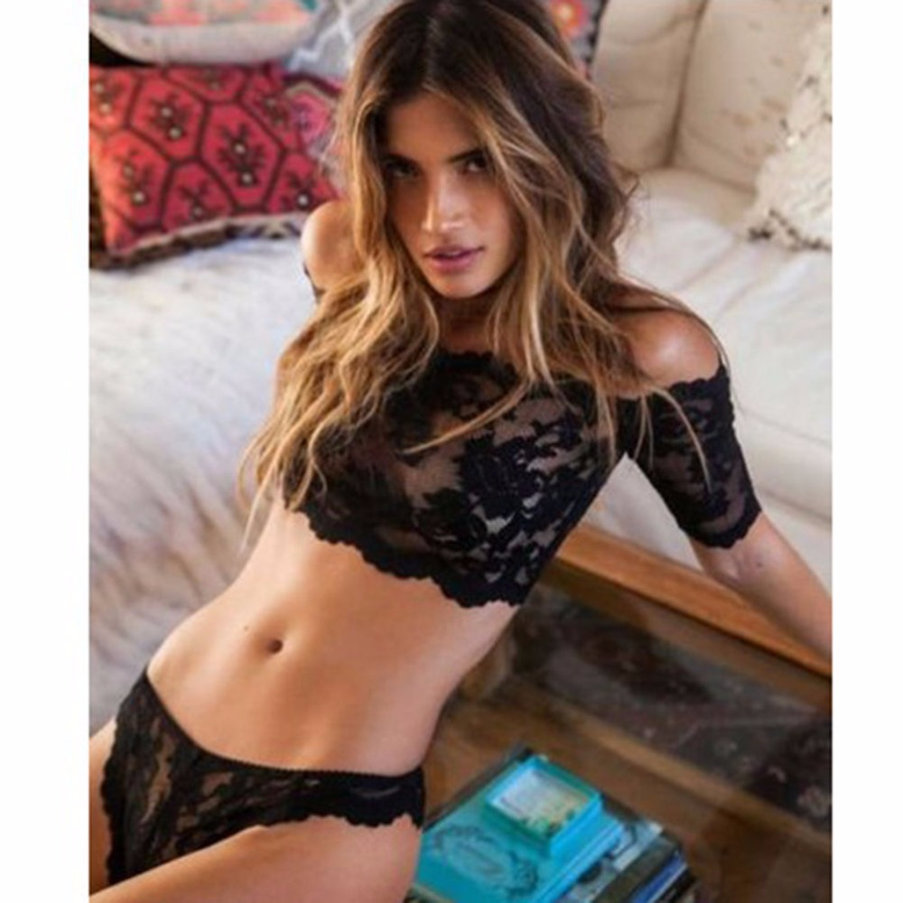 68f6673ed3 Hot Selling Women Black Sexy Lace Lingerie Set Babydoll Underwear Nightwear  Sleepwear Attractive Tops Bra + G String 1Set-in Lingerie Sets from Novelty  ...