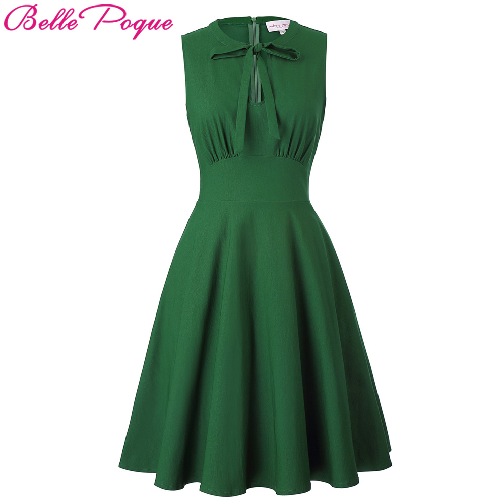 Belle Poque 2017 Fashion A-line Women Dress Retro Sleeveless Tied Neck with keyhole Cotton Summer Club Party Sexy Ladies Dresses