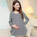 821 # xadrez quadriculado um linho blusas de maternidade 2017 nova primavera da moda tops roupas para mulheres grávidas gravidez clothing