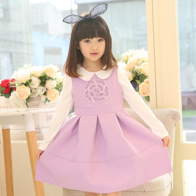 new 2015 autumn winter blouse+flower pattern vest dress 2pcs princess teenagers girls suit for 4~12 age children clothes sets