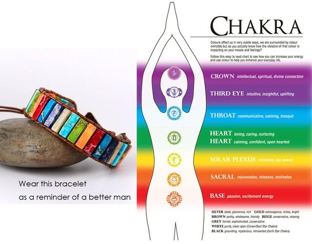 Chakra Bracelet Jewelry Handmade Multi Color Natural Stone Tube Beads Leather Wrap Bracelet Couples Bracelets Creative Gifts