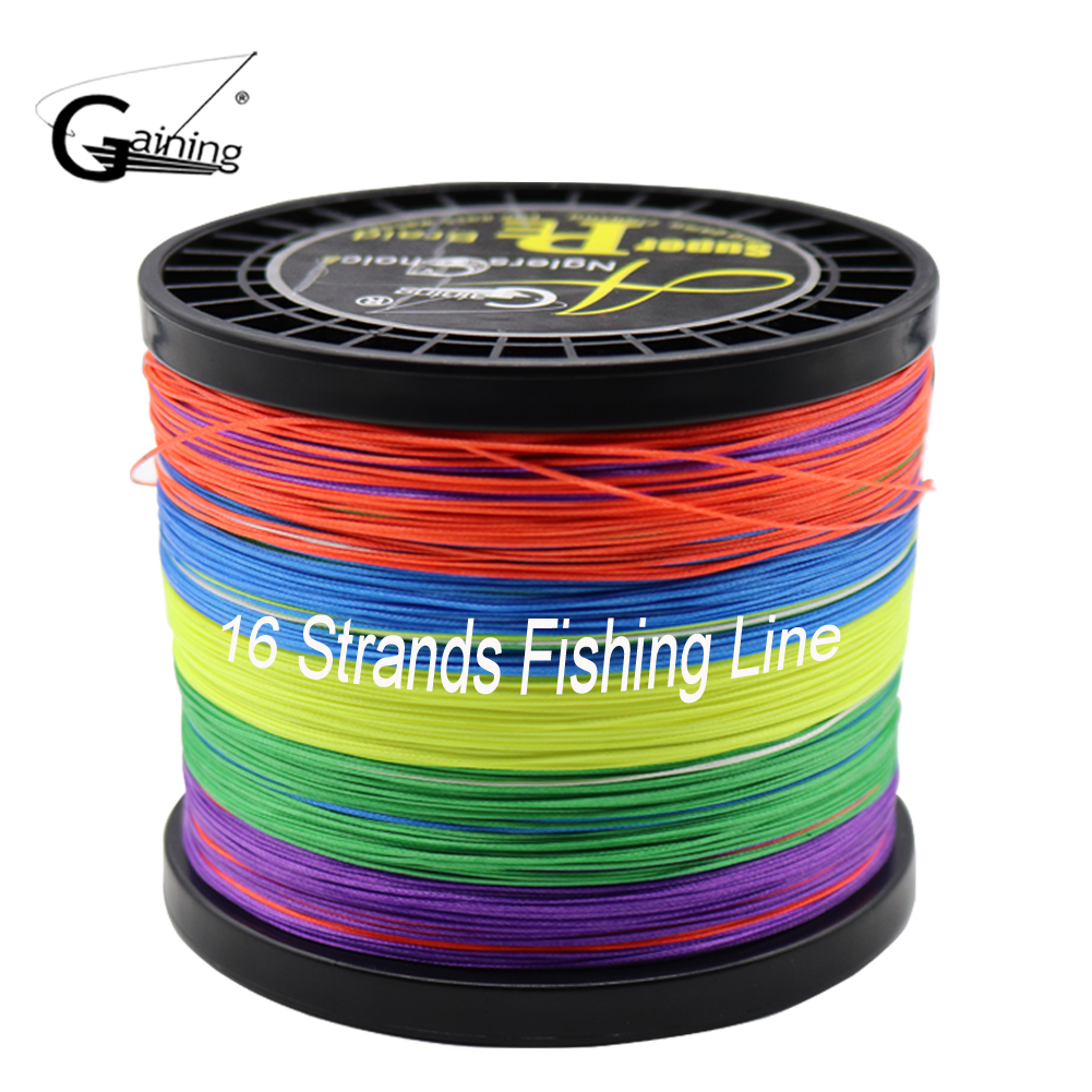 Gaining Brand Fishing Line 16 Strands Braided PE Line 1000m Multicolor Super Strong Japan Multifilament PE Braid Line 59LB-308LB