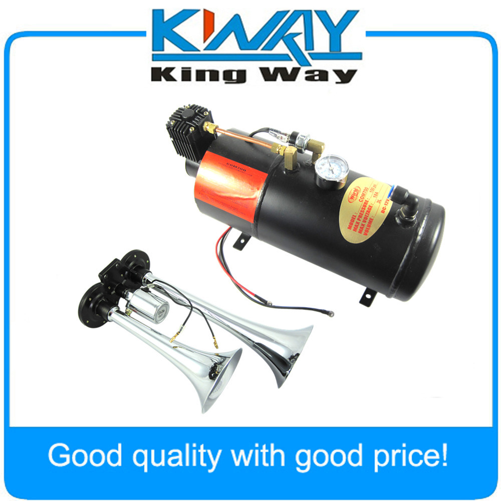 Dual 2 Air Train Horn Kit Truck Boat Chrome with 125 PSI 3 Liter Air Compressor