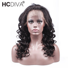 Loose  Wave 360 Lace Frontal Wigs Black For Woman Non Remy Human Hair Lace Frontal Wigs 10–24inch Brazilian Wigs HCDIVA Hair