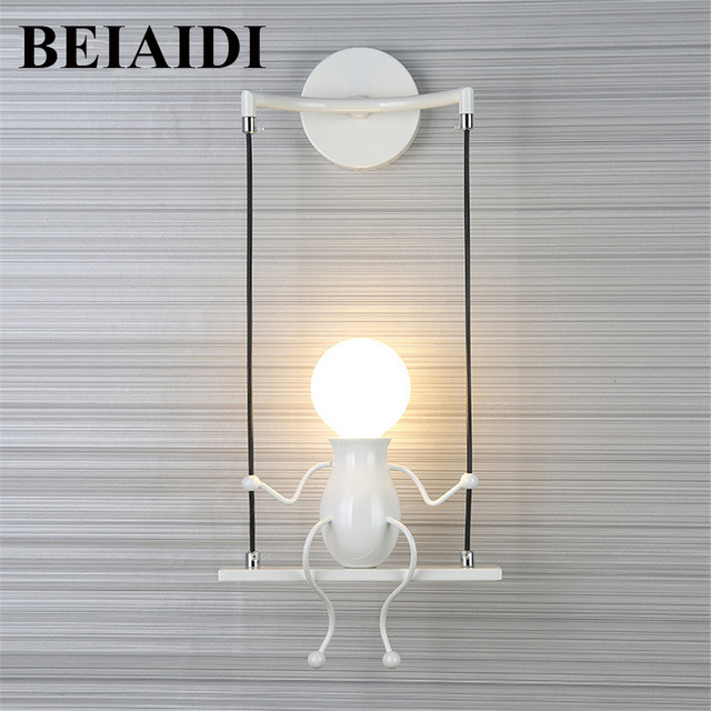 Beiaidi Mini Wall Light Fixture Creative Little People Lamp Modern Metal Doll Bedside Children