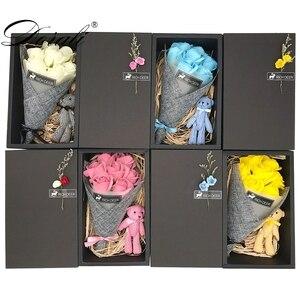 Conjunto de jabón de flores hecho a mano, caja de regalo con oso, regalo para el día de la madre/maestra, Rosa/clavel de San Valentín, ramo de jabón floral