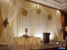 Romance wedding Backdrop Wholesale Stage Backdrop for Wedding Decoration 10ft*20ft Stage Backdrop with Detachable Swag