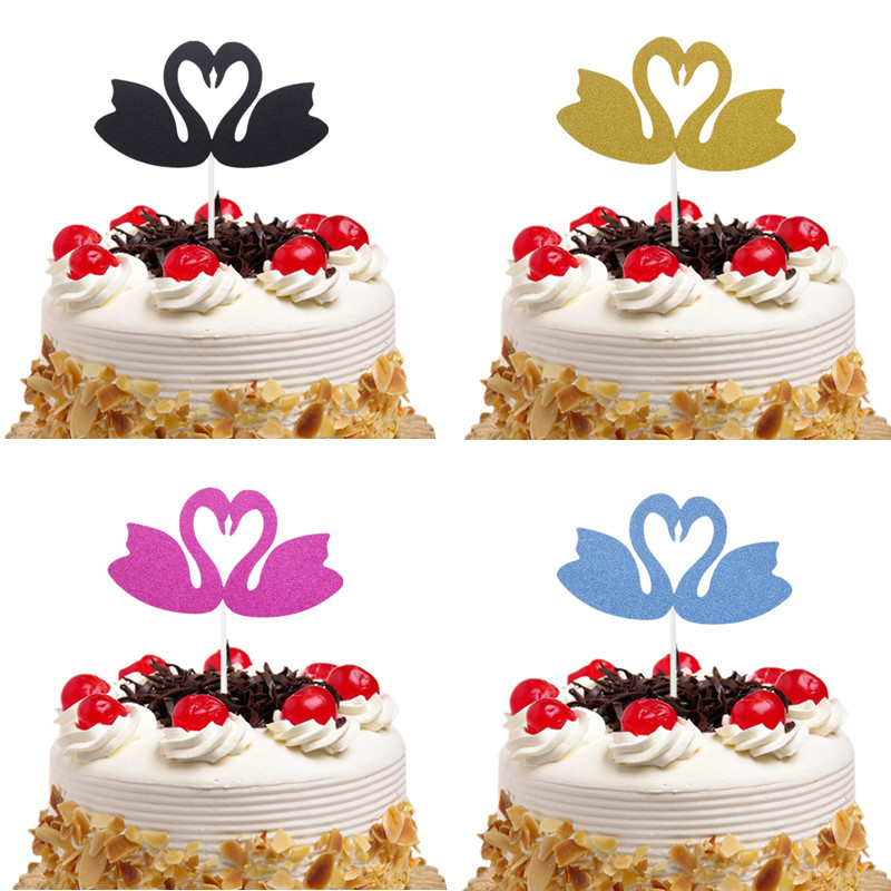 Cake Toppers Swan Flamingo Cupcake Wrappers Cake Topper Flags Happy Birthday Party Baby Shower Baking Decor Wedding Party DIY