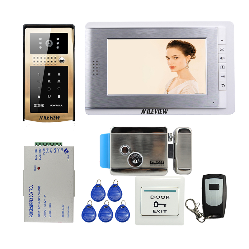 FREE SHIPPING New 7 Color Screen Video Door Phone Intercom System + RFID Keypad Unlock Outdoor Camera + Electronic Control Lock