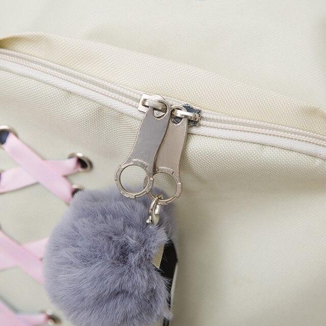 4Pcs/Set Ribbon Chain Bowknot Letter Mochila Canvas Backpack Travel Rucksacks Leisure Backpacks For Teenage Girls School Bagpack 3