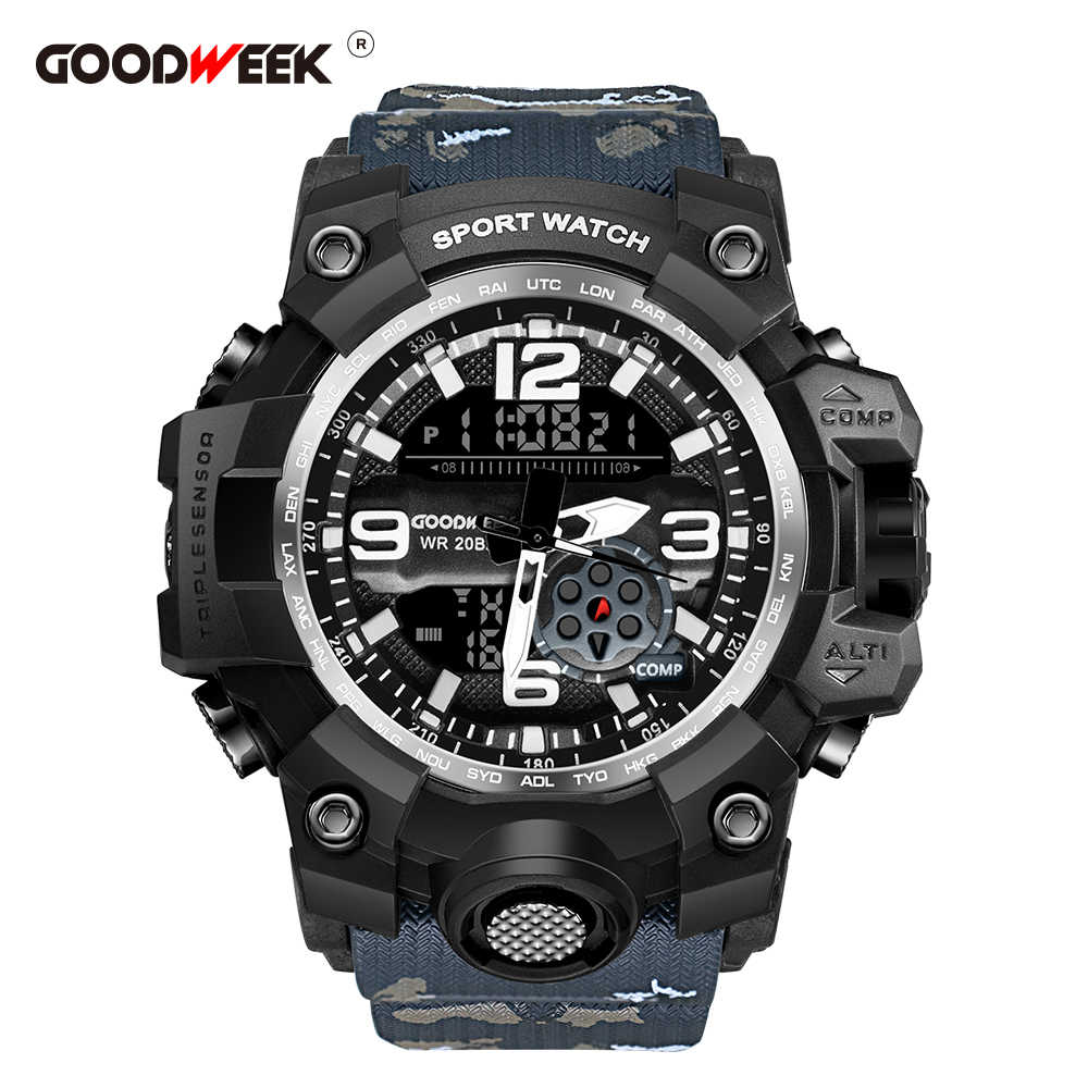 GOODWEEK Relojes deportivos para hombres Relojes militares impermeables para el ejército Relojes digitales con doble pantalla G Style Shock Relogios Masculino