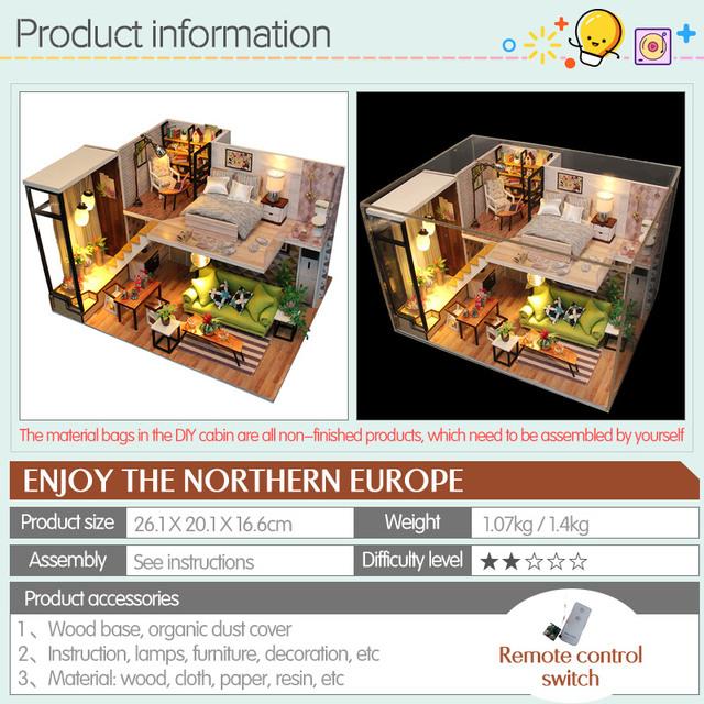 LED Light DIY Model Doll House Miniature DollHouse Furniture 3D Wooden Mini Dollhouse Handmade Gift Toys For Children M030