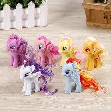 New Version 6pcs/lot my rainbow horse toys decoration PVC Figures poni Kids Doll colourful model girl's gift 8CM