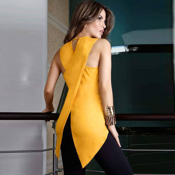2019 Summer T-shirt Women O-neck Hollow Out Asymmetrical Casual Tshirt Woman Sleeveless Fashion Top Tees New Female Clothing