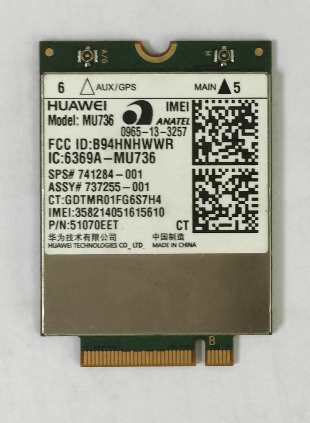 HUAWEI 3G LTE-module MU736 Quad-band ontgrendeld GPS NGFF AT & T Swisscom DT voor laptop-pad ultrabook