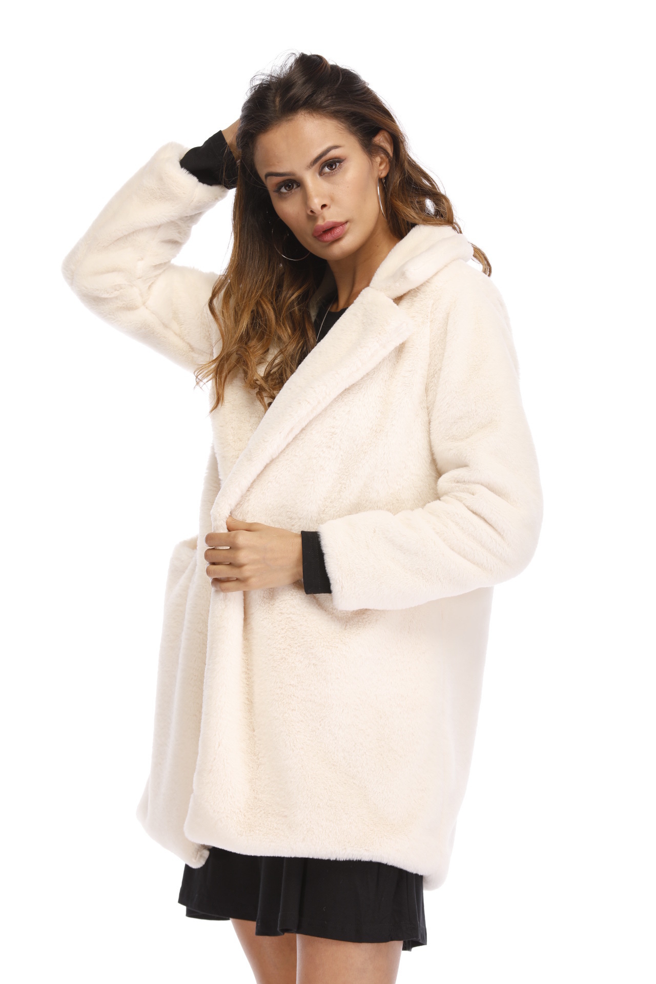 hot Oversize Autumn pink white Coat 4xl Clothing 3xl Female Beige Faux Fashion Pink Windproof gray Jacket Collar Fur Winter Turn blue down Warm Outcoat Casual black red yellow xZFIw