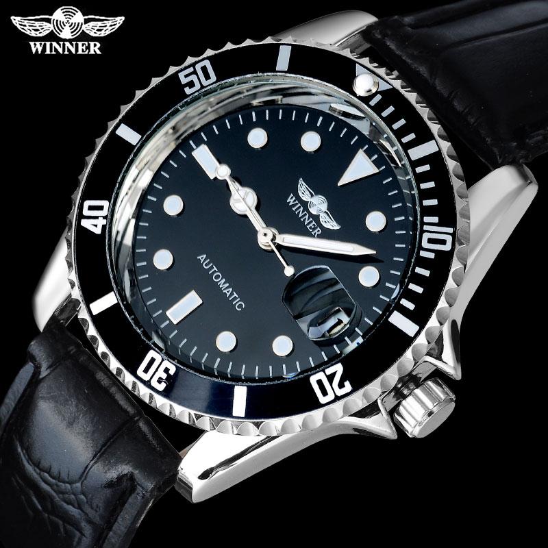 цена на 2018 WINNER popular brand men luxury automatic self wind watches creative case black dial male leather band Relogio masculino