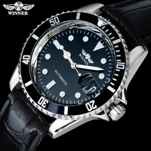 2018 WINNER popular brand men luxury automatic self wind watches creative case black dial male leather band Relogio masculino