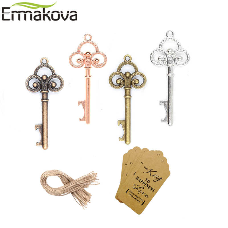 ERMAKOVA 50 Pcs/Lot Key Bottle Opener DIY Skeleton Wine Opener with Escort Tag Card Rustic Wedding Party Favor Souvenir Gifts