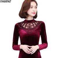 NEW Autumn Winter Gold Velvet Tops Long Sleeve Shirts Women Fashion Slim Pullover Plus Large Size