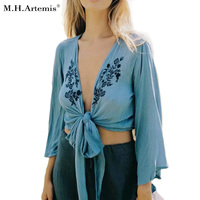 M H Artemis Floral Embroidery Blouse Cardigan Kimono Crop Top Sexy Flare Sleeve Blouse Women Pattern