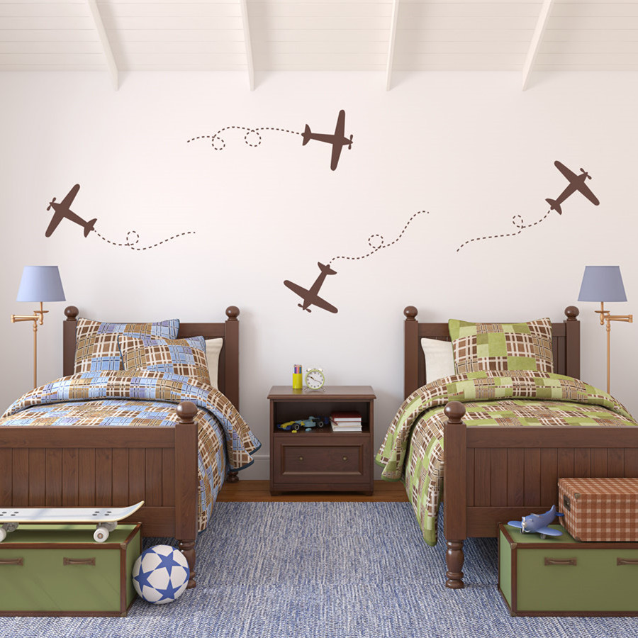 Large Airplanes Childrens Wall Art Nursery Decor Wall Stickers Airplane Theme Kindergarten Kids Room Wall Stickers Child T170407 image
