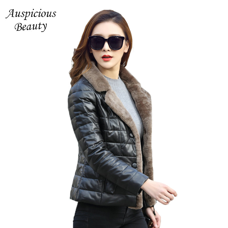 2017 New Women Winter Jackets Short Down Outerwear Wool Turn-down Collar Genuine Leather Coat Plus Size Sheepskin Jacket CXM267