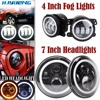 HJYUENG 45W For Jeep Wrangler 7Inch LED Headlight Projector Daymaker Head Lamps 4 Round Fog Lights
