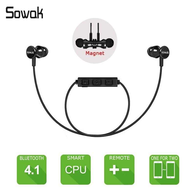 SOWAK S2 Magnet Wireless Headset Bluetooth Earphones Fone de ouvido For Phone Kulaklk Ecouteur Auriculares Sport Bluetooth V4.1 bluetooth headphones fone de ouvido ecouteur bluetooth auriculares headset tbe236n
