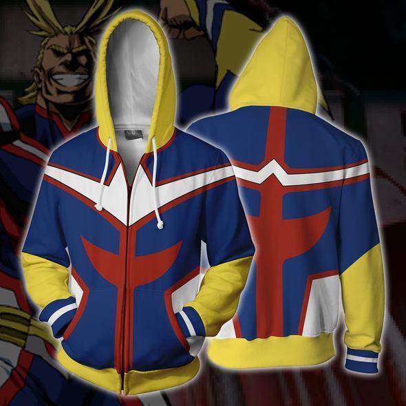 My Hero Academia Boku no Hero Academia Cosplay Costumes All Might Sweatshirt Fashion zipper Hoodie School uniforms Jackets