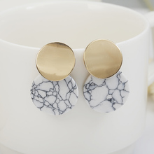 New Fashion Earrings Geometric Round Stone Pendant Female Ring Wind Chime Wild