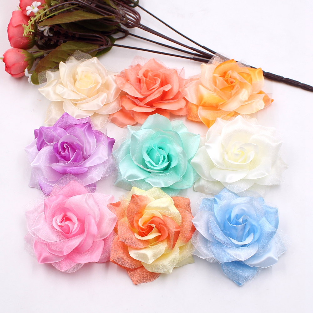 Online Shop 10pcs Large Silk Fire Rose Artificial Flower For