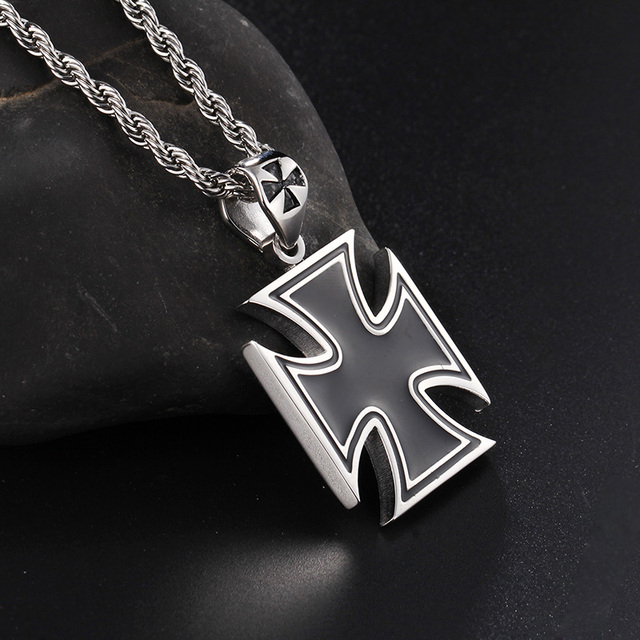 High quality large stainless steel black silver cross pendant high quality large stainless steel black silver cross pendant necklace for mens jewelry 4mm22 aloadofball Images