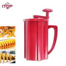 ITOP Manual French Fries Cutter 3in1 Tornado Potato Slicer Carrot Cutter Vegetable Cutting Machine Red ABS Plastic