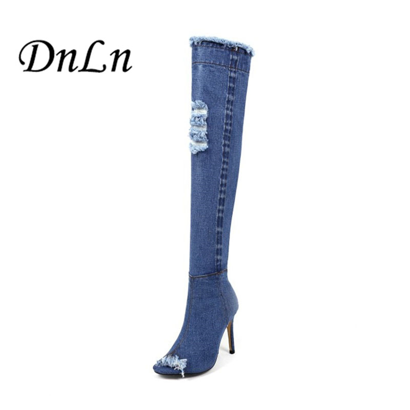 цены  Summer Female Boots Peep Toe Over The Knee Boots Jeans Fashion  Women 'S Summer Shoes Sexy Women Boots High Heels F40