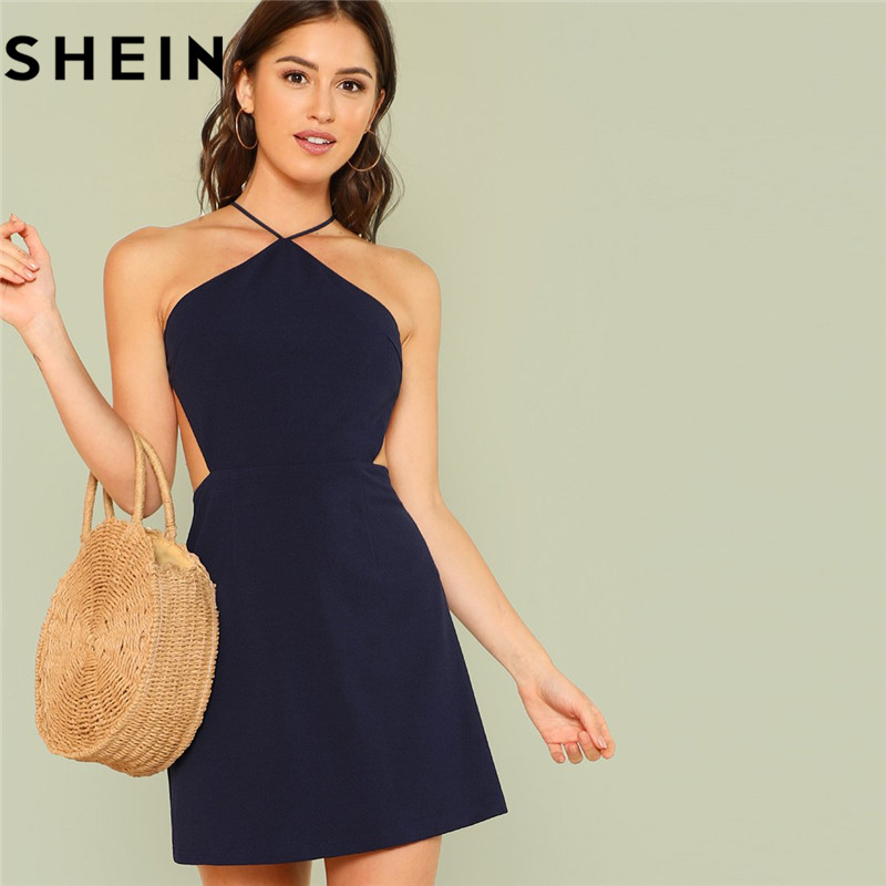 SHEIN Women Navy Sleeveless Backless Sexy Club Mini Dress 2018 Summer Party Strappy Back Zipper Solid Shift Halter Short Dresses