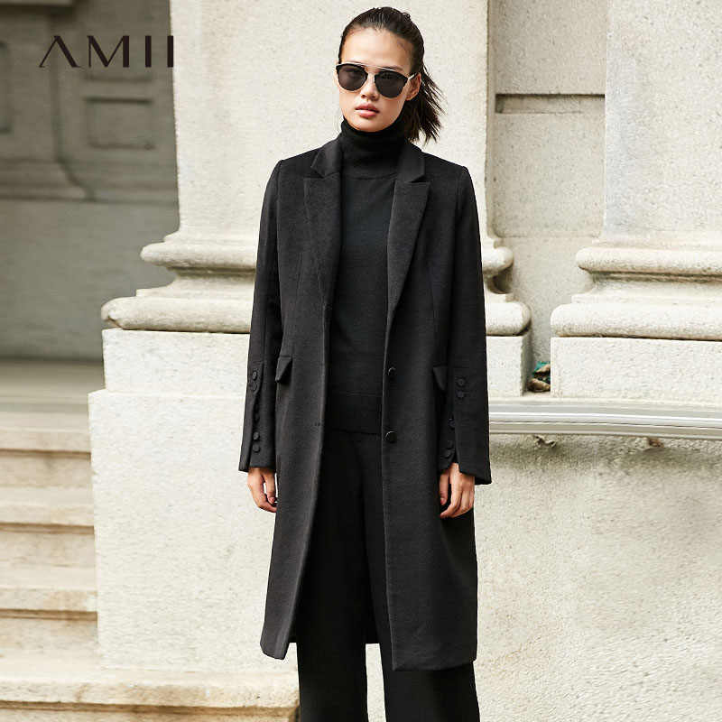 Amii Minimalist  Woman Woolen Coats Winter 2018 Causal Single Waisted Solid Turn-down Collar Cool Female Long Jacket