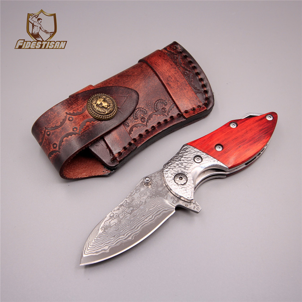 2018 Russian handmade hunting tactical knife VG10 + 410C damascus steel folding blade fire knives camping leather wooden handle fire maple sw28888 outdoor tactical motorcycling wild game abs helmet khaki