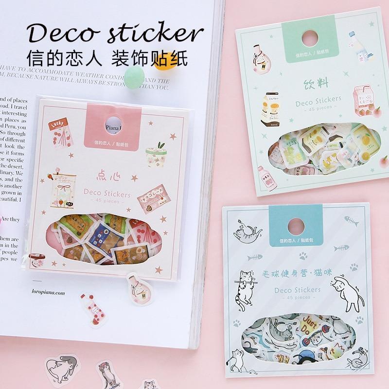 45pcs/lot Kawaii Stationery Sticker Set Fruit Drink Juice Cute Animals Diy Decorative Stickers For Art Craft Scrapbooking Album