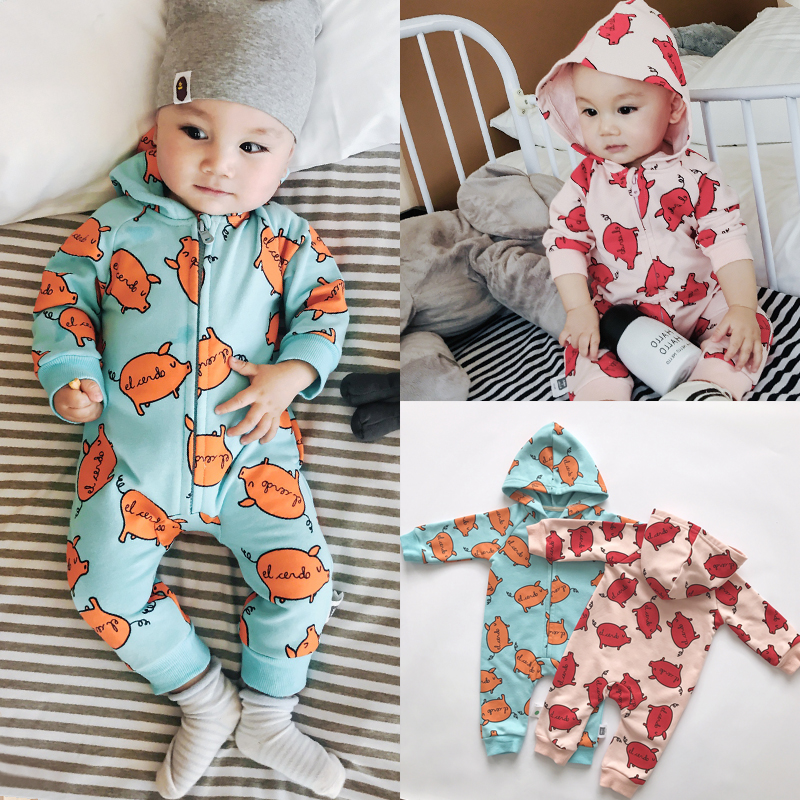 Baby Rompers Long Sleeve Baby Girls Clothing Cartton Pig Print Jumpsuits Newborn Autumn zipper Hooded Rompers  Baby Clothes unisex baby boys girls clothes long sleeve polka dot print winter baby rompers newborn baby clothing jumpsuits rompers 0 24m