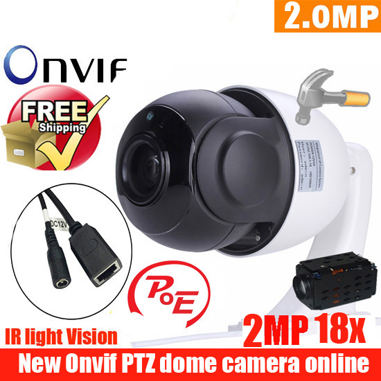 new 4.5 inch Mini Size Network Onvif 2MP cctv camera ip ptz speed dome Camera 18X optical zoom ptz POE ip camera freeshipping цена