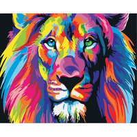 Frameless Hand Painted DIY Oil Painting By Numbers Coloring By Numbers Painted Animals Lion Eagle Chicken