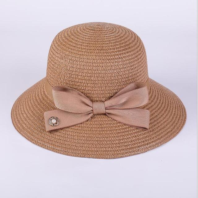 7ca2c06843d 2018 Small flower pearl straw hat for women girls summer Nautical straw hat  Shade sun hats
